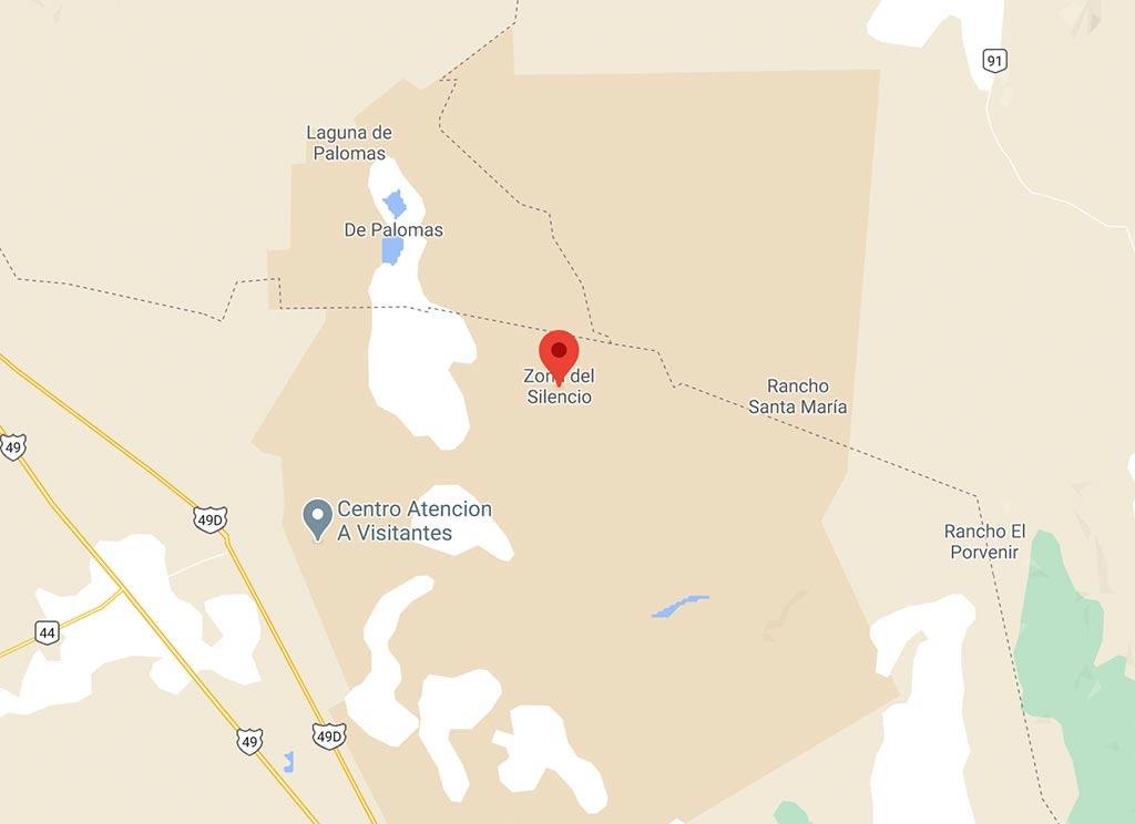 Geografische Karte zur Zona del Silencio